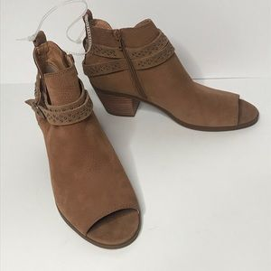 Lucky Brand Braxley open toe leather ankle boots